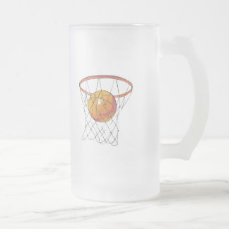 basketball in hoop frosted glass beer mug