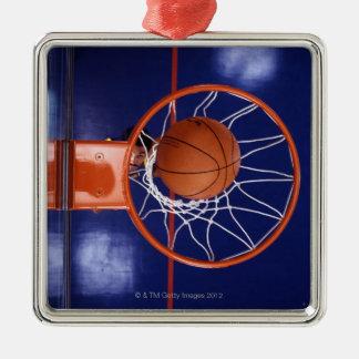 basketball in hoop metal ornament