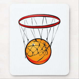 Basketball in hoop mouse pad