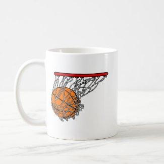 Basketball in hoop mug