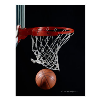 Basketball in Hoop Postcard