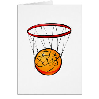 Basketball in hoop stationery note card