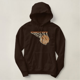 Basketball In Net Embroidered Hoodie