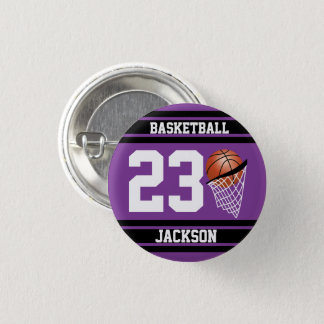 Basketball in Purple and Black Pinback Button