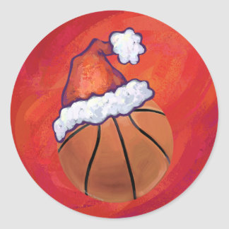 Basketball in Santa Hat Classic Round Sticker