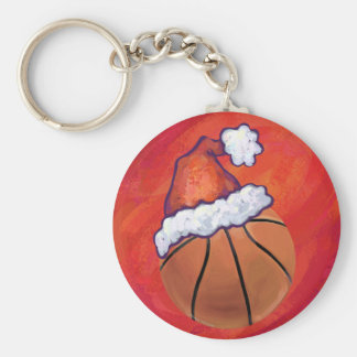 Basketball in Santa Hat Keychain