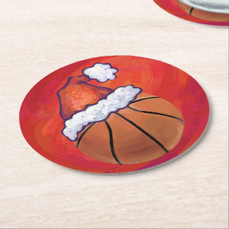 Basketball in Santa Hat Round Paper Coaster