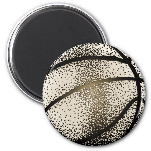 BASKETBALL IN SEPIA 2 INCH ROUND MAGNET