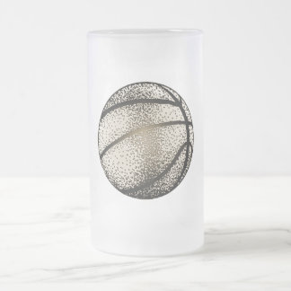 BASKETBALL IN SEPIA FROSTED GLASS BEER MUG