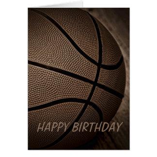 Basketball in Sepia Happy Birthday Card