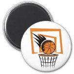 Basketball in the Basket Refrigerator Magnet