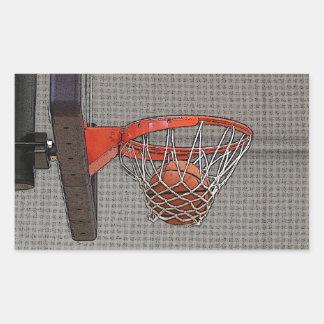 Basketball in the Net Rectangular Sticker