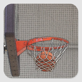 Basketball in the Net Square Sticker