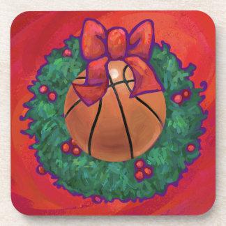 Basketball Inside Christmas Wreath Coaster