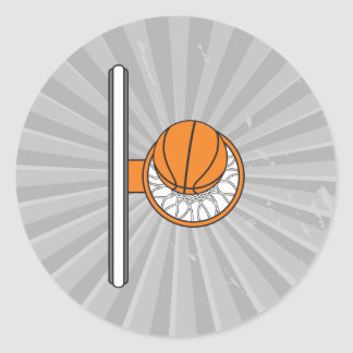 basketball into net top view graphic classic round sticker