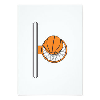 basketball into net top view graphic 5x7 paper invitation card