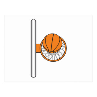 basketball into net top view graphic postcard