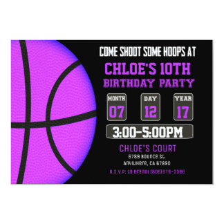 basketball invitation sports invitation girl - Basketball Party Invitations