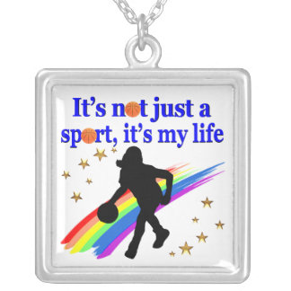 BASKETBALL IS MY LIFE BASKETBALL DESIGN SILVER PLATED NECKLACE