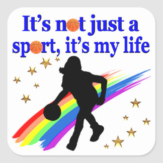 BASKETBALL IS MY LIFE BASKETBALL DESIGN SQUARE STICKER