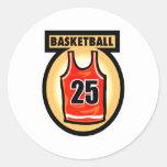 Basketball Jersey & Logo Round Stickers