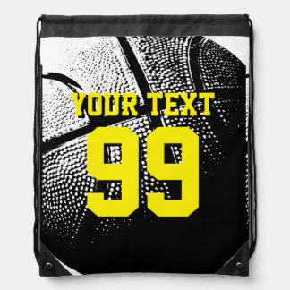 Basketball jersey number drawstring bags for teams