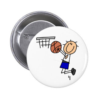 Basketball Jump Shot Blue T-shirts and Gifts Pinback Buttons