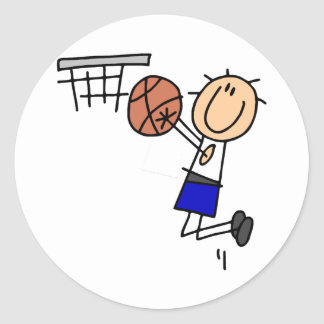 Basketball Jump Shot Blue T-shirts and Gifts Classic Round Sticker