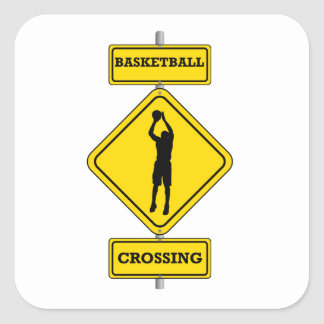 Basketball Jump Shot Crossing Square Sticker