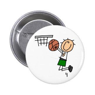 Basketball Jump Shot - Green T-shirts and Gifts Pins