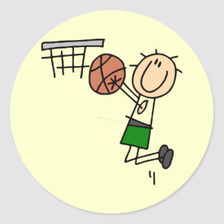Basketball Jump Shot - Green T-shirts and Gifts Classic Round Sticker