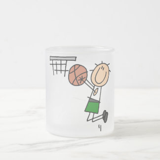 Basketball Jump Shot - Green T-shirts and Gifts Frosted Glass Coffee Mug