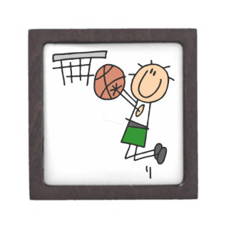 Basketball Jump Shot Green T-shirts and Gifts Jewelry Box