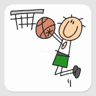 Basketball Jump Shot Green T-shirts and Gifts Square Sticker