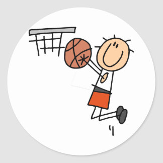 Basketball Jump Shot - Orange T-shirts and Gifts Classic Round Sticker