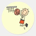 Basketball Jump Shot - Orange T-shirts and Gifts Round Stickers