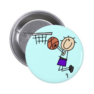 Basketball Jump Shot - Purple Tshirts and Gifts Button