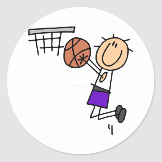 Basketball Jump Shot - Purple Tshirts and Gifts Classic Round Sticker