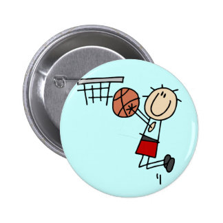 Basketball Jump Shot Red Tshirts and Gifts Pinback Buttons