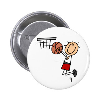 Basketball Jump Shot Red Tshirts and Gifts Buttons
