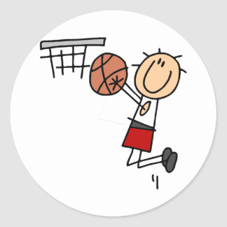 Basketball Jump Shot Red Tshirts and Gifts Classic Round Sticker