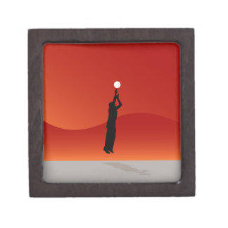 Basketball Jump Shot Silhouette Vector Jewelry Box