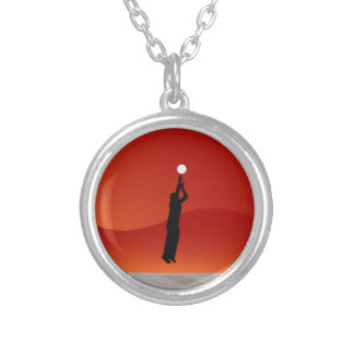 Basketball Jump Shot Silhouette Vector Silver Plated Necklace
