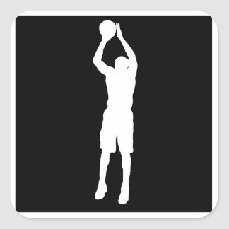 Basketball Jump Shot Square Stickers
