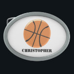"""Basketball Just Add Name Belt Buckle<br><div class=""""desc"""">Basketball Design Belt Buckle. This fun basketball design makes a great gift for any sports lover. Customize with any text of your choice. Design by justbyjulie</div>"""