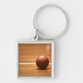 Basketball Silver-Colored Square Keychain