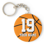 Basketball keychain | Personalized name and number<br><div class='desc'>Basketball keychain | Personalized name and number. Number 19 basketball keychains | Personalizable team name and jersey number. Cool sports gift idea for basketball players and coaches. Custom keychains for men women and kids.</div>