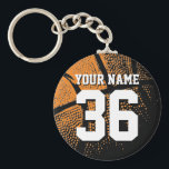 "Basketball keychain with your own jersey number<br><div class=""desc"">Personalized orange jersey number basketball keychain with name. Sporty present under 5$ for men / guys, women / ladies and children. Personalizable with funny quote, slogan, monogram, name or high school team name. Cool sports gift idea for basketball players, teammates and fans. Cute birthday party favor for senior students, teenagers...</div>"
