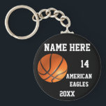"""Basketball Keychains<br><div class=""""desc"""">Personalized basketball Keychains with Name of team,  Player`s Name, Number of jersey and the Year on it. This inexpensive basketball keychains is great for a gift.Delete any or all text. IMPORTANT Personalize each Basketball keychain,  ONE at a Time,  ADD that keychain to CART.</div>"""