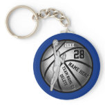 Basketball Keychains, 4 Text Boxes and Your Colors Basic Round Button Keychain